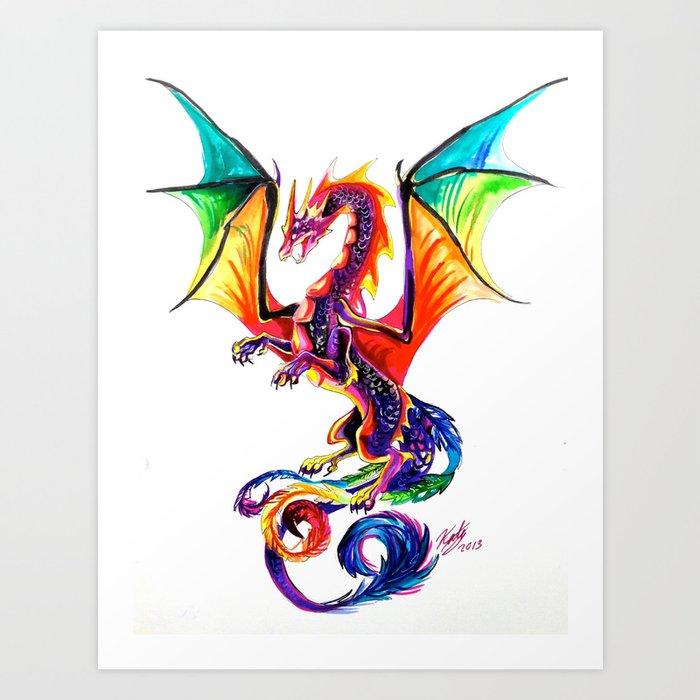 Rainbow Dragon Art Print by katylipscomb | Society6