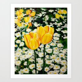 Tulips and Daisies Art Print