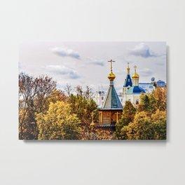 Wooden chapel in golden autumn season Metal Print