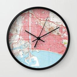 Vintage Map of Long Beach California (1964) 4 Wall Clock
