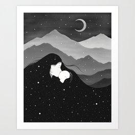 Mountain's Lullaby - Black & White Art Print