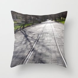 Streetcar Tracks Still Visible On Residental Street Throw Pillow