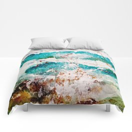 Abstract Waves Splatter Comforters