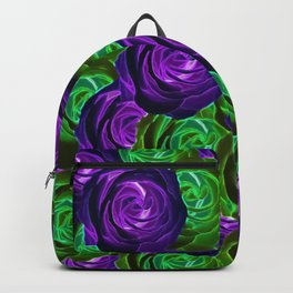 blooming rose texture pattern abstract background in purple and green Backpack