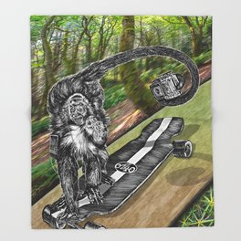 Simian Skateboard Selfie Throw Blanket