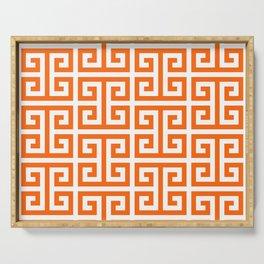 Orange and White Greek Key Pattern Serving Tray