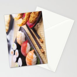 Shrimp tempura and various Japanese sushi on a plate Stationery Cards