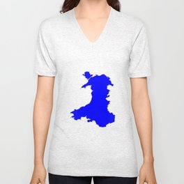 Silhouette Map Of Wales Unisex V-Neck