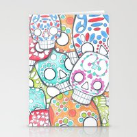 sugar skulls Stationery Cards featuring skulls sugar by wet yeti