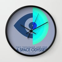 stanley kubrick Wall Clocks featuring Stanley Kubrick - 2001: A Space Odessey by MathiasLaustrup