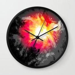 Bold Abstract Nebula Red Pink Yellow Gray Wall Clock