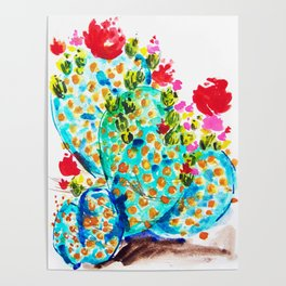 Blue Cactis Poster