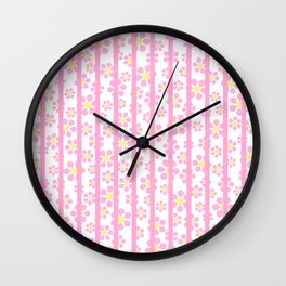 Daisies and Stripes - pink - more colors Wall Clock
