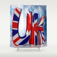 uk Shower Curtains featuring UK - United Kingdom by Carlo Toffolo