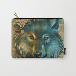 wolf art decor gold Carry-All Pouch