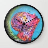 grafitti Wall Clocks featuring Grafitti Face by Whitney Woodrick