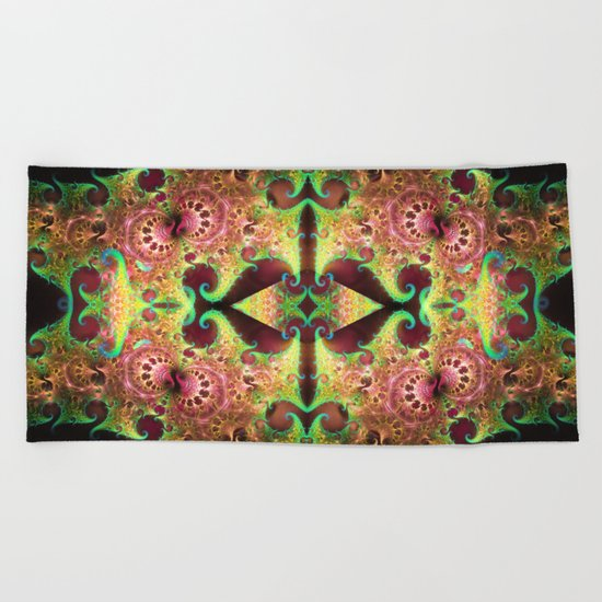 Groovy abstract with spiral patterns Beach Towel