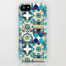 Spanish moroccan tiles inspiration // turquoise blue golden lines iPhone Case