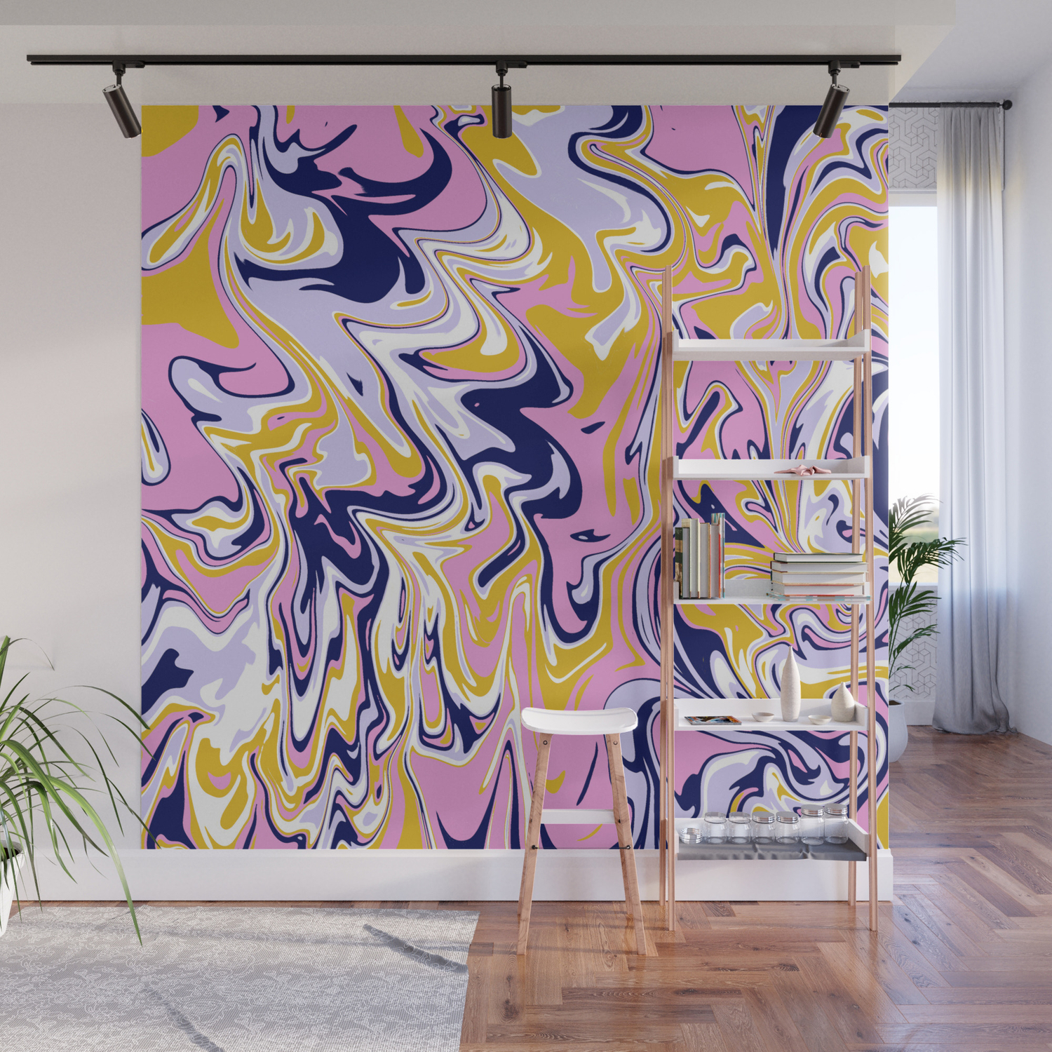 Pink Navy Gold Marble Wall Mural By Sunshinecanteen Society6