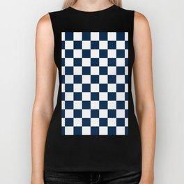 Checkered - White and Oxford Blue Biker Tank