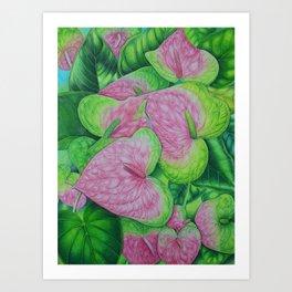 Obake Anthuriums Art Print