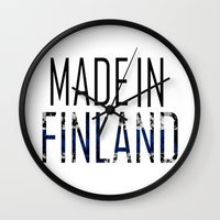 finland Wall Clocks featuring Made In Finland by VirgoSpice