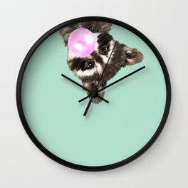 Bubble Gum Baby Raccoon Wall Clock