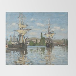 Classic Art - Ships Riding on the Seine at Rouen - Claude Monet Throw Blanket