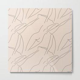 female body figure abstract minimal modern one line art sketch Metal Print