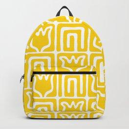 Mid Century Flower Garden Pattern 381 Yellow Backpack