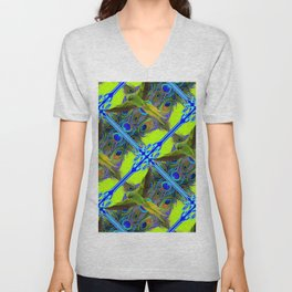 ART NOUVEAU FLYING GREEN PARROTPEACOCK FEATHER CHARTREUSE ART Unisex V-Neck