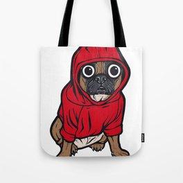 French Bulldog Red Hoodie Tote Bag
