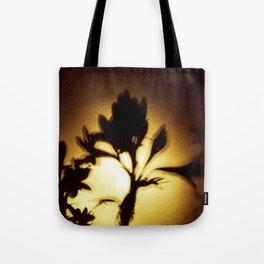 Yellow and Black Floral Shadow Art Print Tote Bag