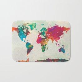 Watercolor World Map Bath Mat