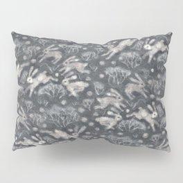 Hares Field, Winter Rabbits Bunnies Pattern, Felted Wool Texture Gray Pillow Sham