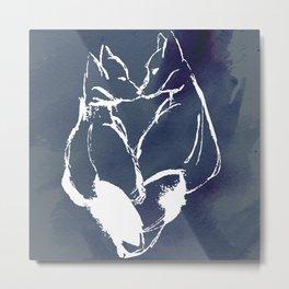 Enamored Foxes Metal Print