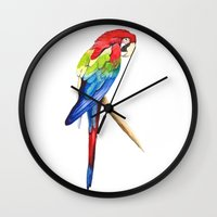 parrot Wall Clocks featuring Parrot by Bridget Davidson