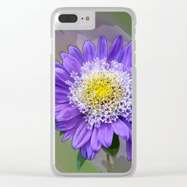 blue violet flower Clear iPhone Case