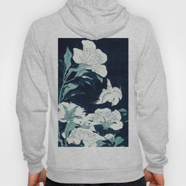 JAPANESE FLOWERS Midnight Blue Teal Hoody