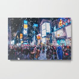 People and famous led advertising panels in Times Square during snow, one of the  symbol of New York Metal Print