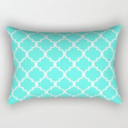 Moroccan Trellis (White & Turquoise Pattern) Rectangular Pillow