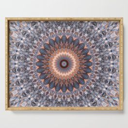 Warm center of ice crystal mandala Serving Tray