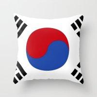 korean Throw Pillows featuring South Korean Flag  by Laura Ruth