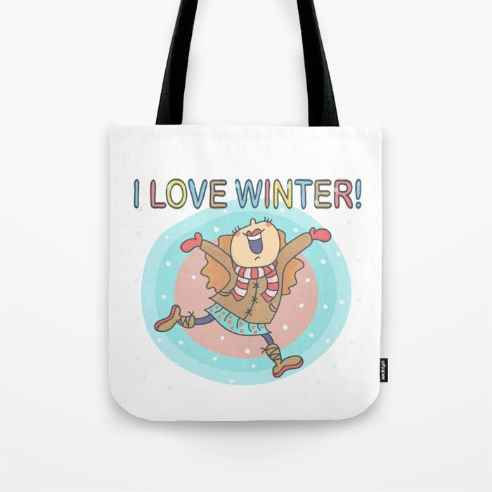I Love Winter Girl Tote Bag