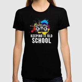 Keeping It Old School 80s 90s  Music Boombox Cassette T-shirt