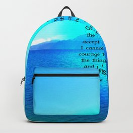 Serenity Prayer With Blue Ocean and Amazing Sky Backpack