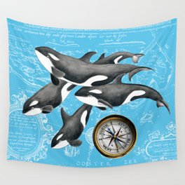 Orca Whales Pod Blue Compass Vintage Map Wall Tapestry