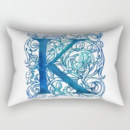 Letter K Antique Floral Letterpress Rectangular Pillow