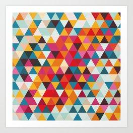 Vintage Summer Color Palette - Hipster Geometric Triangle Pattern Art Print