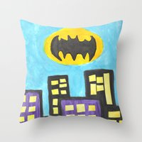 bat Throw Pillows featuring Bat by Marialaura